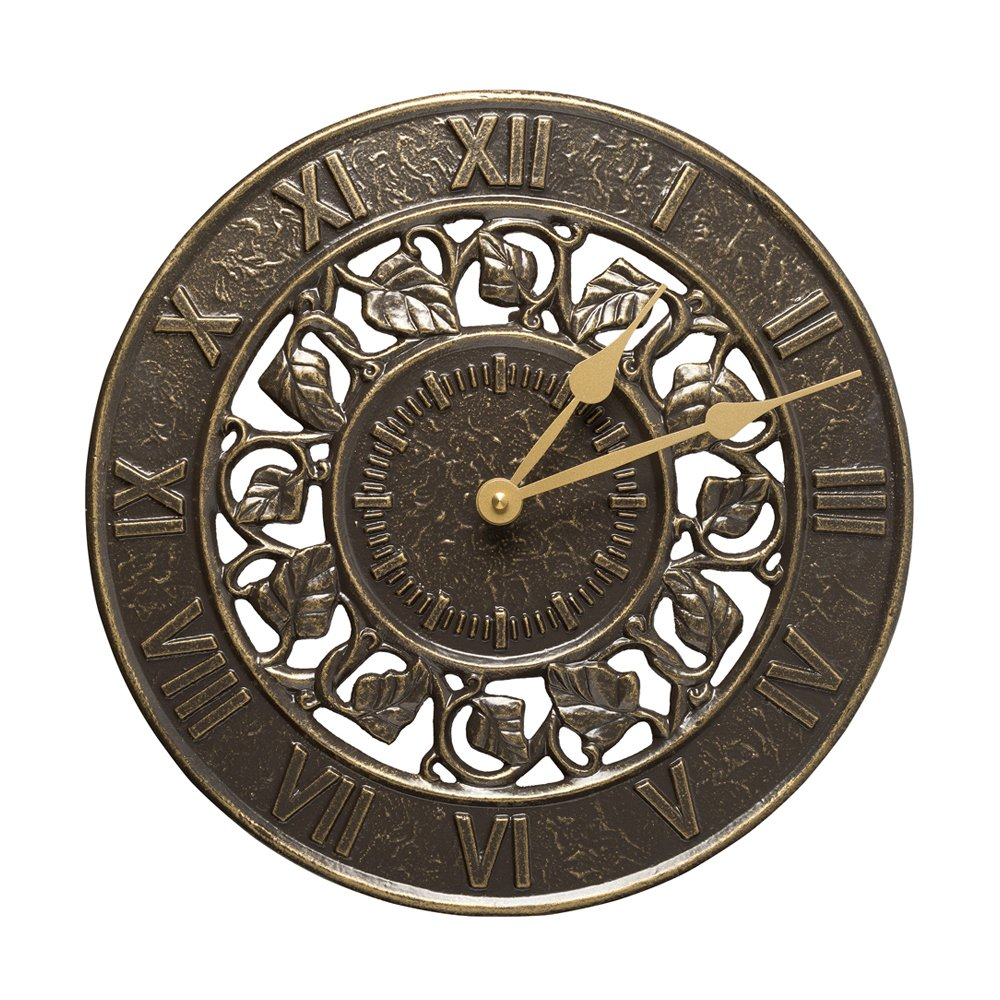 Amazon outdoor clocks patio lawn garden whitehall products ivy silhouette clock french bronze amipublicfo Choice Image