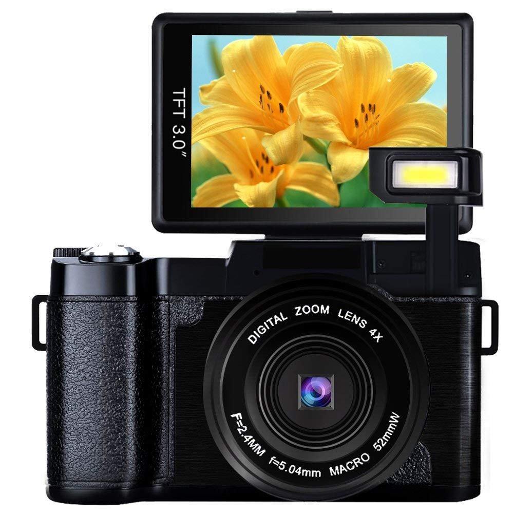Digital Camera 24.0 MP Camcorder Vlogging Camera Full HD 1080P 3.0 Inch Flip Screen Retractable Flashlight