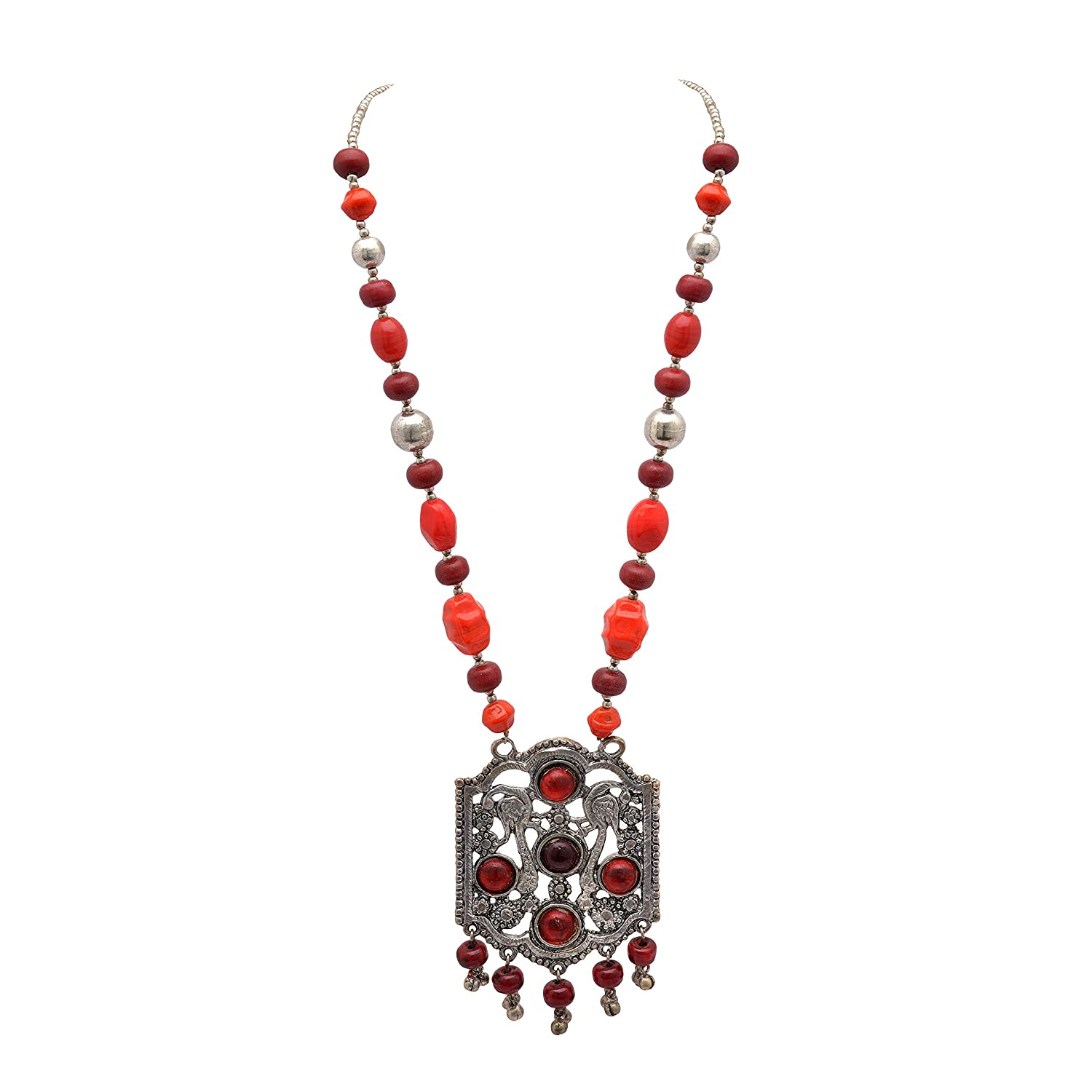 Zephyrr Pendant Necklace Women Stylish Afghani Chunky Oxidized Silver Red Beads for Girls and Women Old India JAN-1736
