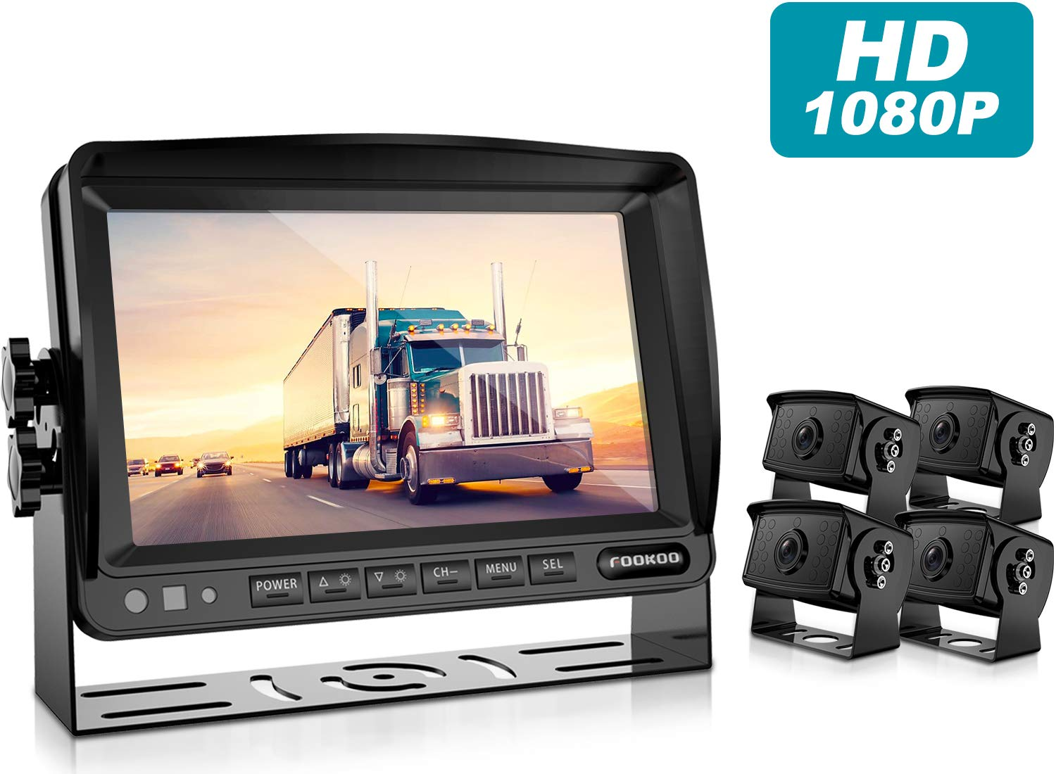 Fookoo Ⅱ HD Backup Camera System Kit,7 HD Backup Camera System Kit,1080P 7'' Split Screen Monitor+IP69 Waterproof Rear View Camera for Bus/Truck/Trailer/Box/RV/Trailer/Tractor/ 5th Wheel (FHD4-Wired)
