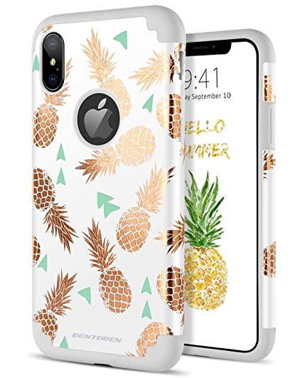meet 8216e 4f333 BENTOBEN iPhone Xs Case, iPhone X Case, Shockproof Slim Anti-Scratch Gold  Pineapple Design Hybrid Hard PC Soft Rubber Glossy Protective Case for ...