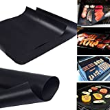 Jaykoo Unique Premium Quality Thicker Heavy Duty Grill Mats ,Set of 2 Non-stick BBQ Reusable and Easy Clean Grilling Sheets, 15.75 x 13 Inch Baking Mat Black.