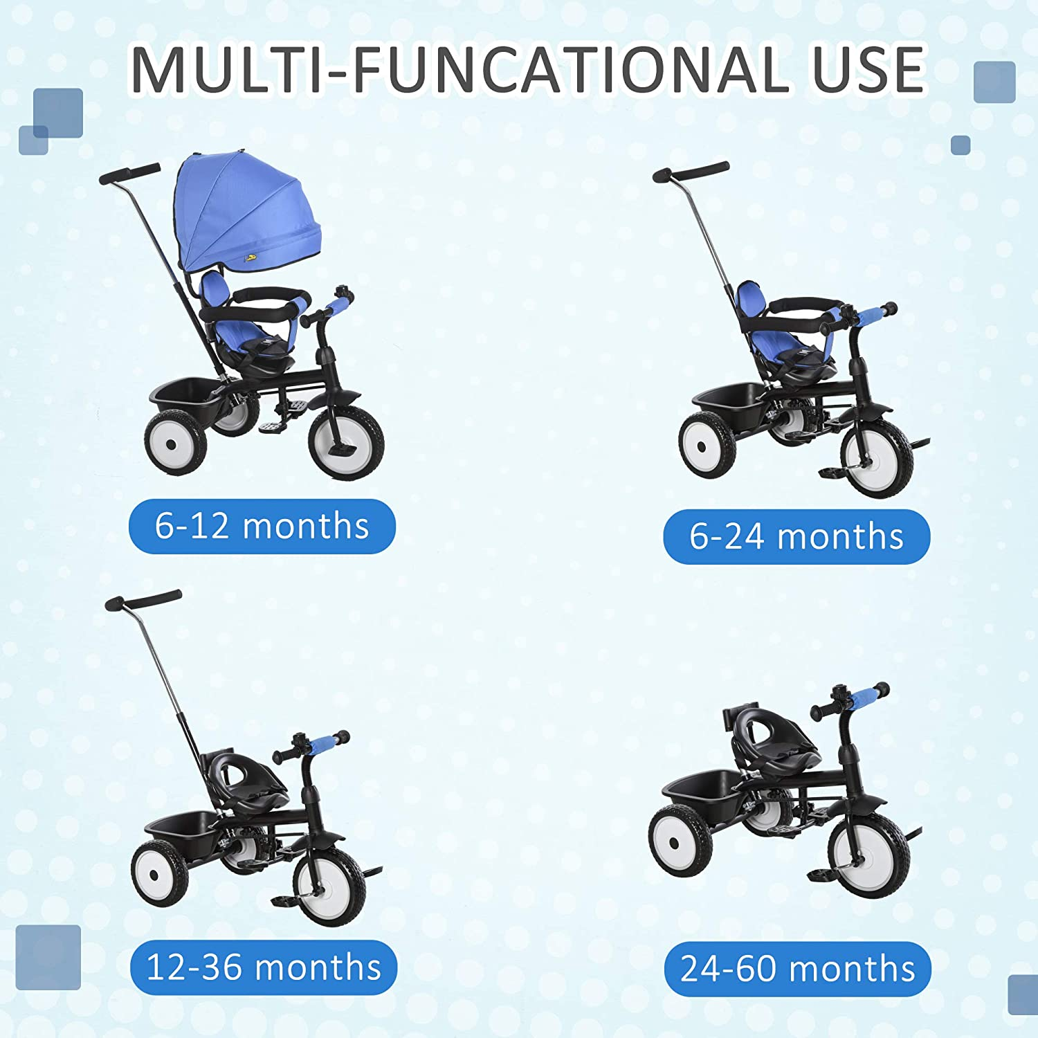 Blue Qaba Baby Tricycle 2 in 1 Stroller with Adjustable Canopy Detachable Guardrail Safety Belt for Age 6-60 Months