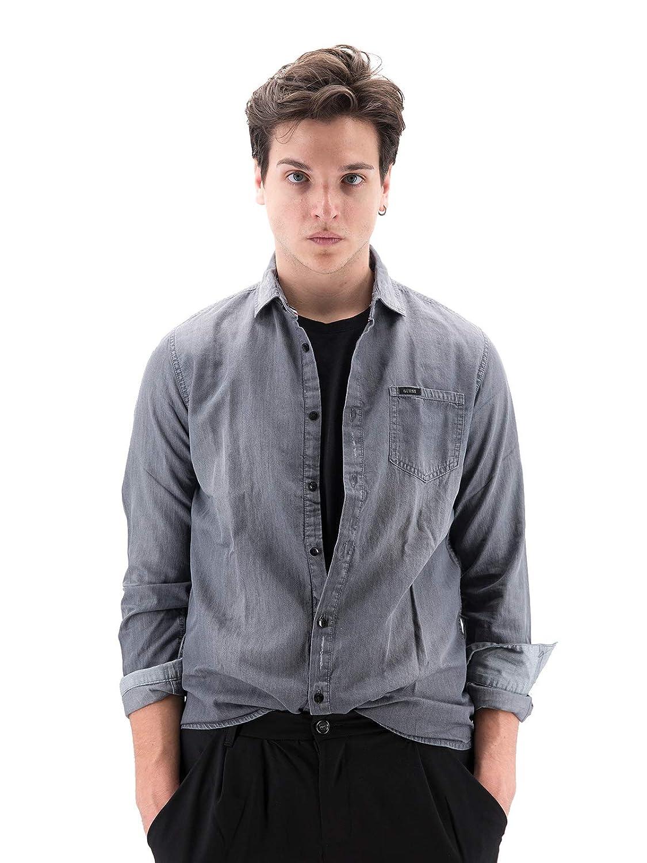 gris S Guess Clyde Ls Shirt Chemise en Jean Homme