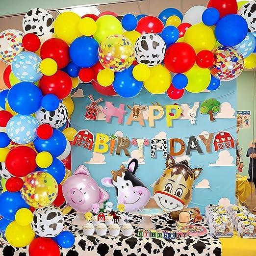 MMTX Cumpleaños Juguetes Globos De Fiesta Decoracion para Chico Chica,Granja Happy Birthday Bandera con Cerdo Caballo Vaca Glob Rojo azul amarillo ...