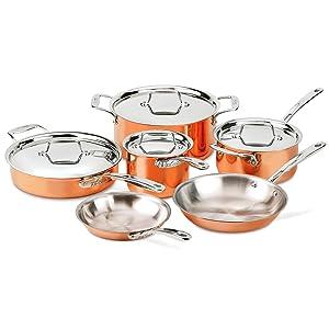 All-Clad Copper C4 10 Piece Cookware Set