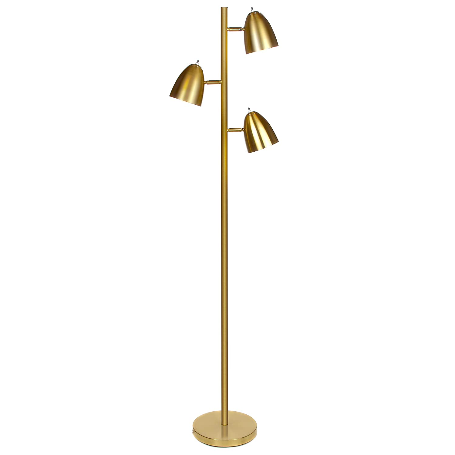 Brightech Jacob - LED Reading and Floor Lamp for Living Rooms & Bedrooms - Classy, Mid Century Modern Adjustable 3 Light Tree - Standing Tall Pole Lamp with 3 LED Bulbs - Antique Brass/Gold Brigthech BT-FL-JCB