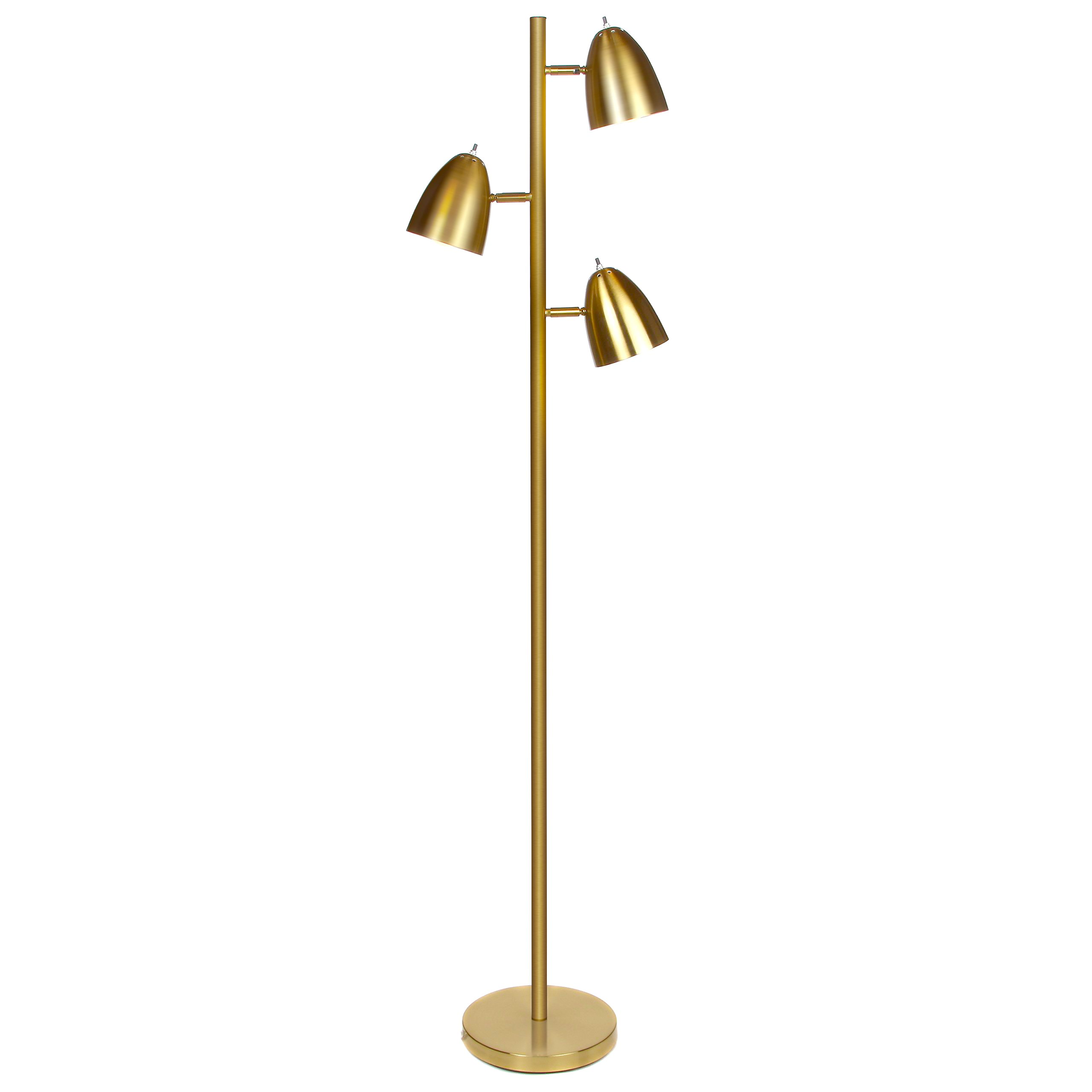 Brightech Jacob LED Reading and Floor Lamp- Classy Modern Standing Industrial 3 Way Tree Lamp – Adjustable Omnidirectional Energy Saving Light for Living Room Office Dorm Bedroom- Antique Brass