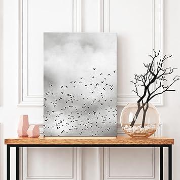 Moderne Leinwand Malerei Wand Künstler Haus Dekoration Bild Schwarz Und  Weiß Vogelschwarm Fliegen Und Weiß Löwenzahn