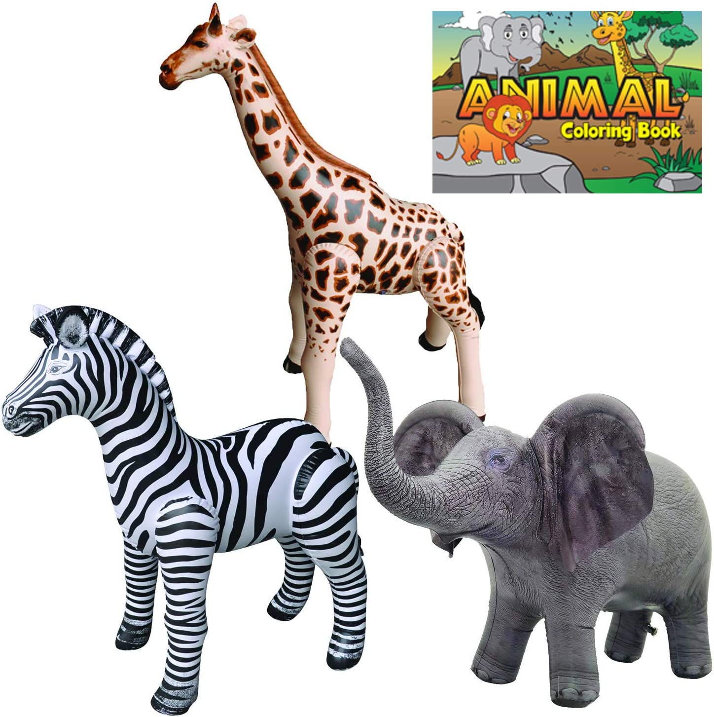 Jet Creations Safari 4 Pack Giraffe Zebra Elephant Animal Coloring Book Great for Pool, Party Decoration, Home School, School Closure, Learn from Home, JC-GZEA, Multi