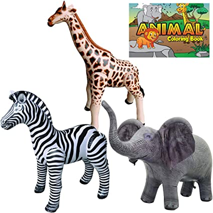Amazon.com: Jet Creations Safari 4 Pack Giraffe Zebra Elephant Animal Coloring  Book Great For Pool, Party Decoration, Home School, School Closure, Learn  From Home, JC-GZEA, Multi: Toys & Games