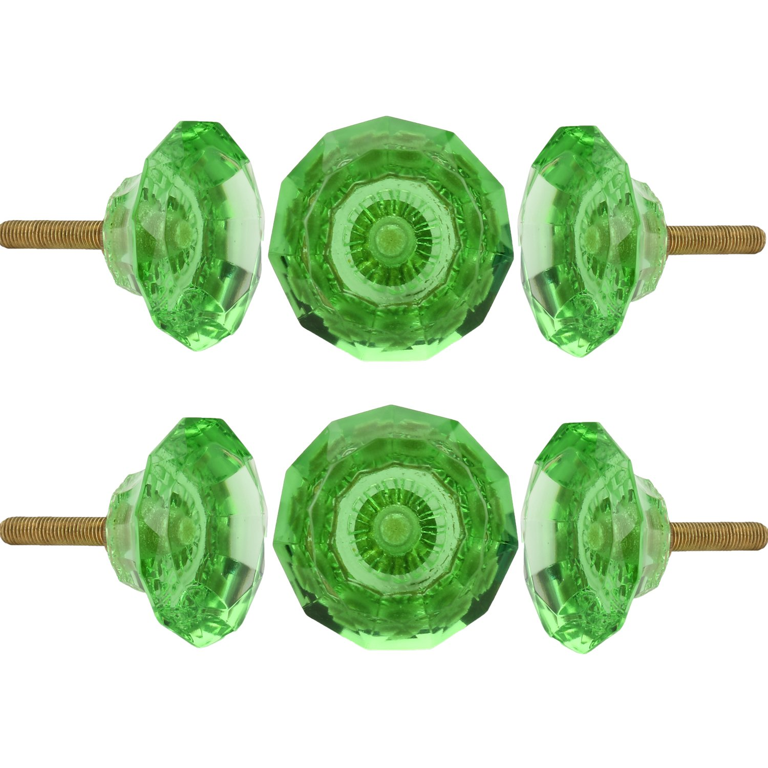 Set of 6 Crystal Glass Knobs Kitchen Cabinet Cupboard Glass Door Knobs Dressser Wardrobe and Drawer Pull by Perilla Home (Green)