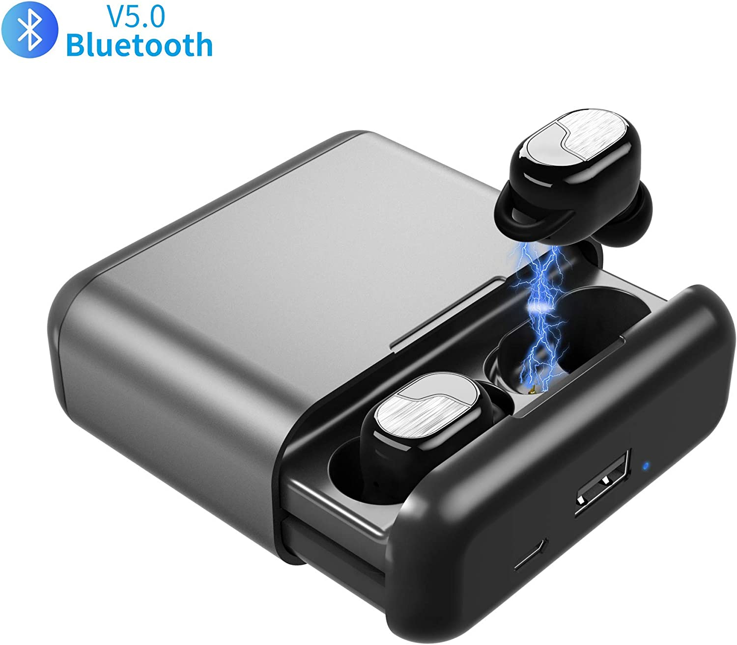True Wireless Earbuds, Bulife TWS Bluetooth 5.0 Headphones, in-Ear Stereo Wireless Earphones, Deep Bass 3D Stereo Sound Headset for Running Sports,Portable Charging Case