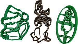 Full-Body Grinch, Max The Dog, Grinch Face With Santa Hat Christmas Cookie Cutters (3 Pack)