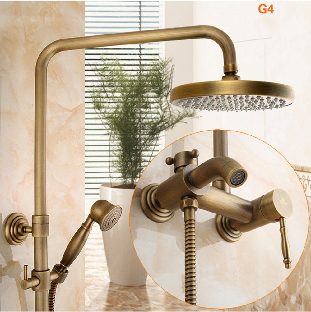 4 All-Copper Antique Shower European Retro Lifting Shower Large Nozzle Bathroom Faucet Set, 7
