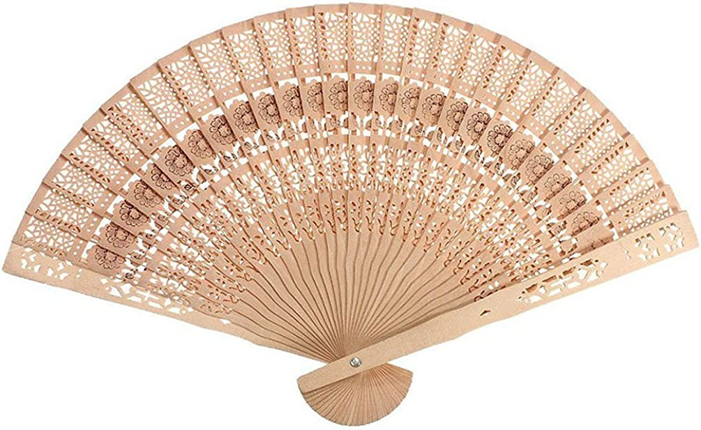 1 x Chinese Japanese Style Hollow Folding Bamboo Wooden Carved Hand Fan