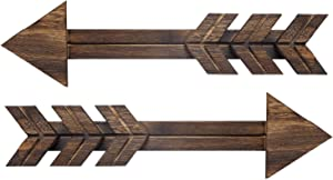 """Dahey Rustic Wooden Arrow Wall Decor Farmhouse, 15"""" Wood Arrows Sign Wall Hanging Art Christmas Decoration for Home or Weeding, Set of 2"""