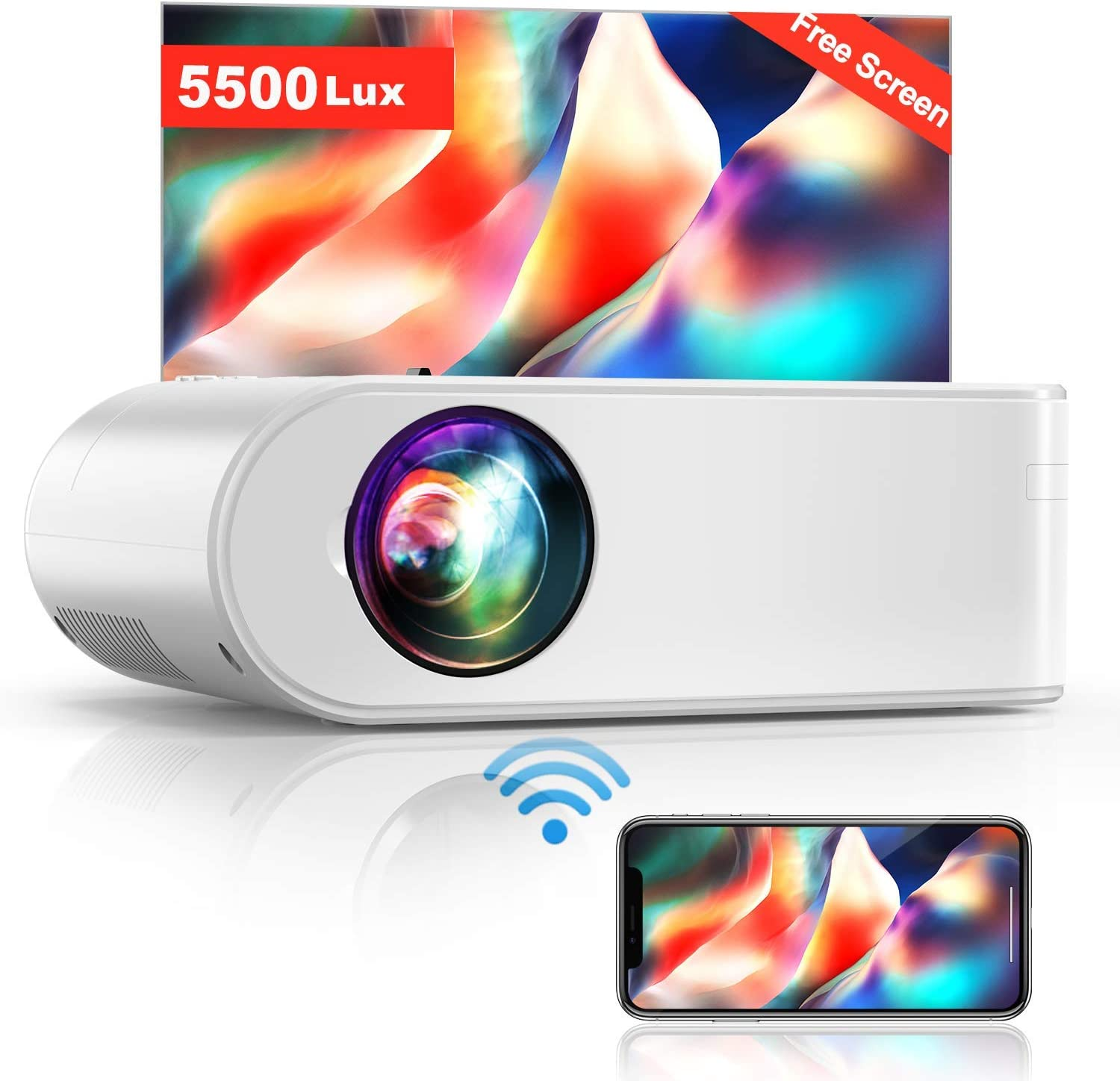 "Projector, YABER V2 WiFi Mini Projector 5500 Lux [Projector Screen Included] Full HD 1080P and 200"" Supported, Portable Wireless Mirroring Projector for iOS/Android/TV Stick/PS4/PC Home & Outdoor"