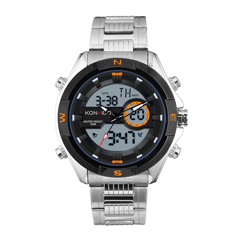 KONXIDO ◊CAREER SERIES◊ Reloj Hombre Analógico de del Cuarzo de Acero Inoxidable de la Correa de Impermeable con la Luz de Fondo del Diseño Lujo con la Alarma y el Calendario