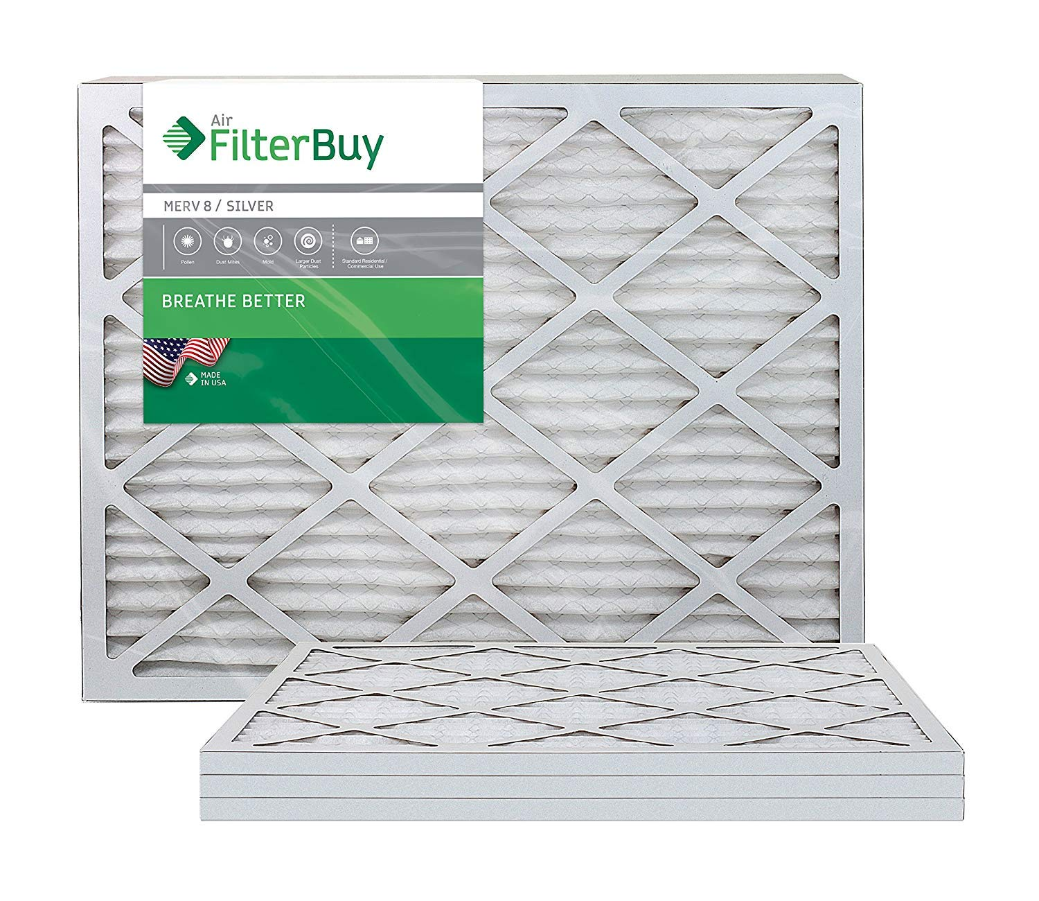 FilterBuy AFB MERV 8 20x25x1 Pleated AC Furnace Air Filter, (Pack of 4 Filters), 20x25x1 - Silver