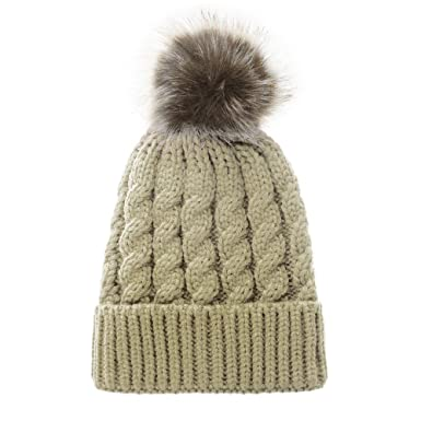 a968e8c0fe5 Opromo Women s Winter Soft Knitted Beanie Hat with Faux Fur Pom Pom-Beige