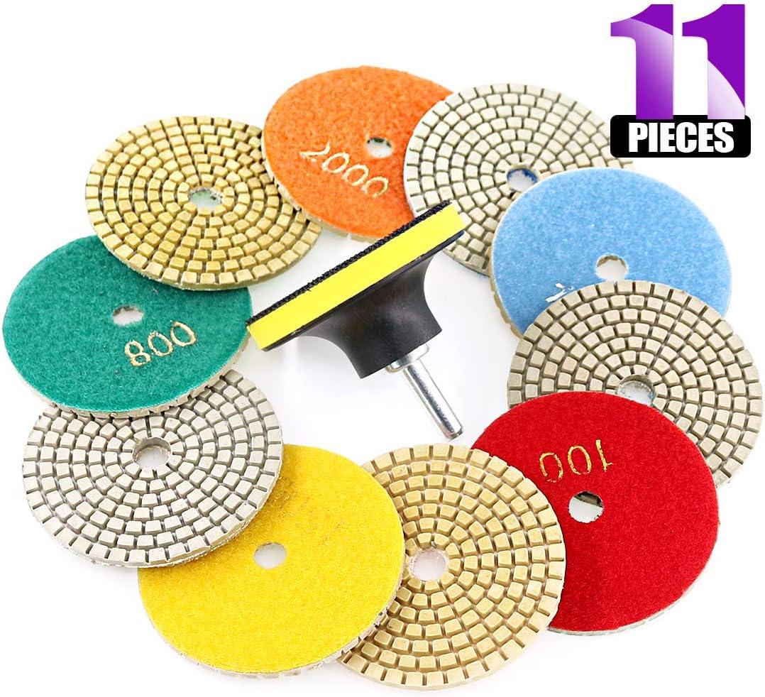 Swpeet 11Pcs Diamond Polishing Pads Kit, 10Pcs 3 Inch Wet/Dry Polishing Kit Polishing pads Kit with 1Pcs 3 Inch Yellow Backer Pad for Granite Marble Stone Glass Quartz Polishing