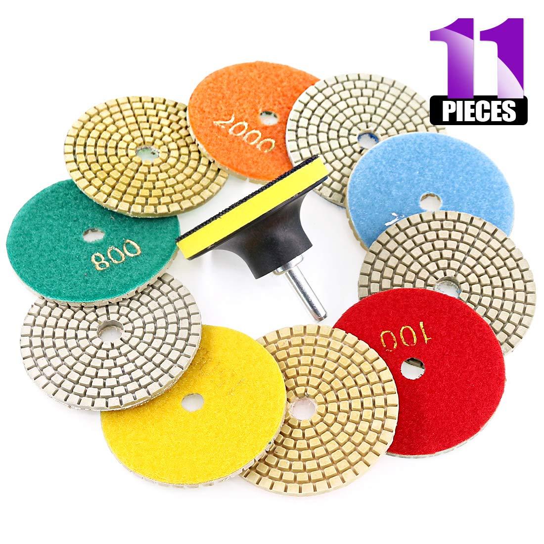Swpeet 11Pcs Diamond Polishing Pads Kit, 10Pcs 3 Inch Wet/Dry Polishing Kit Polishing pads Kit with 1Pcs 3 Inch Yellow Backer Pad for Granite Marble Stone Glass Quartz Polishing by Swpeet