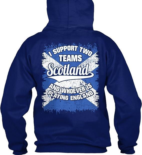 Sudadera con Capucha Teespring para Hombre - S - Scotland Rugby - Support Two Teams: Amazon.es: Ropa y accesorios