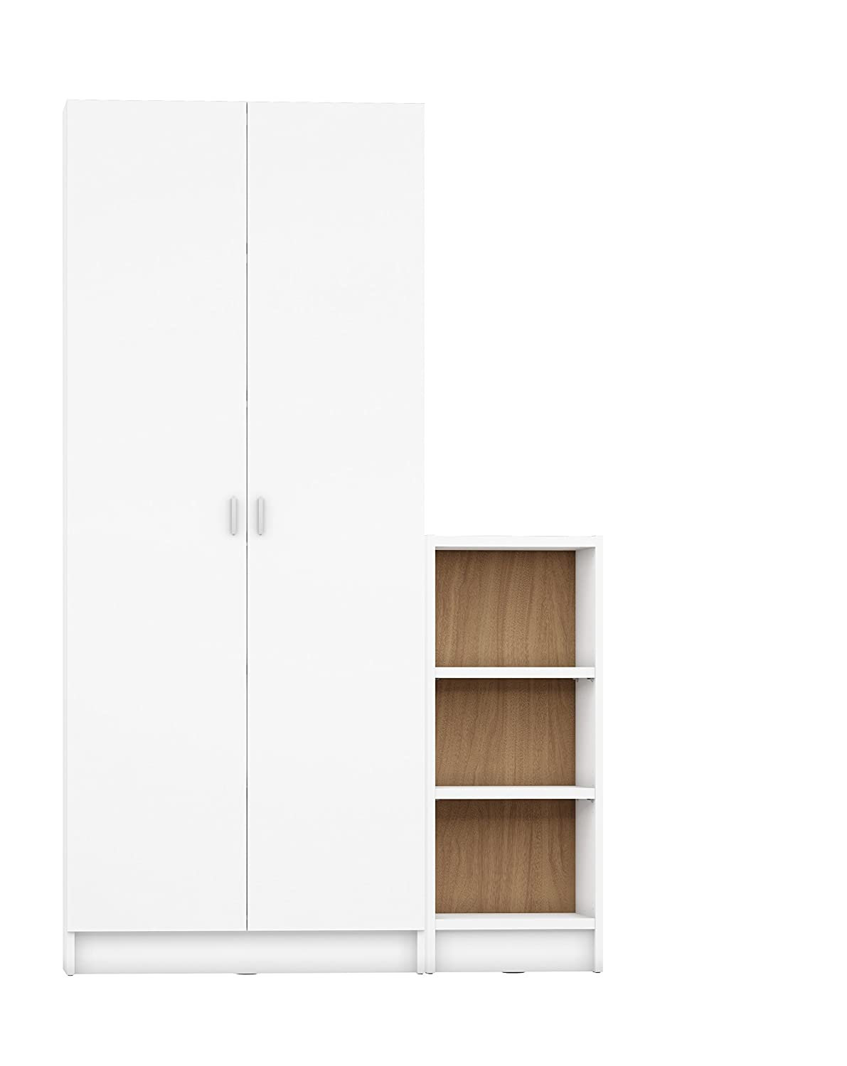 Manhattan Comfort Greenwich 2 Piece Trente 2.0 and Tall 1.0 Horizontal Bookcase Collection Modern Free Standing Bookcases with Closed Base, Combined 9 Shelves, White Matte Maple Cream