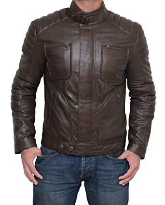 Amazon.com: Kentucky Men Brown Leather Jacket - Belted Collar Padded Motorcycle Leather Jacket Mens: Clothing
