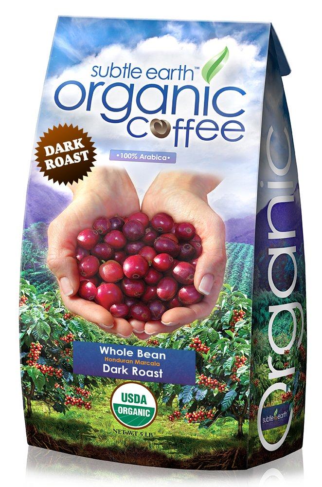 5LB Cafe Don Pablo Subtle Earth Organic Gourmet Coffee - Dark Roast - Whole Bean Coffee - USDA Organic Certified Arabica Coffee by CCOF - (5 lb) Bag by Cafe Don Pablo