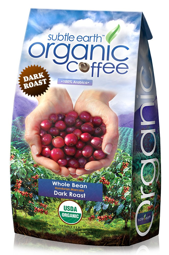 5LB Cafe Don Pablo Subtle Earth Organic Gourmet Coffee - Dark Roast - Whole Bean Coffee - USDA Certified Organic - 100% Arabica, 5 Pound by Cafe Don Pablo