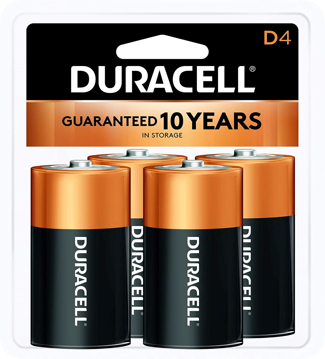 Duracell - CopperTop D Alkaline Batteries with recloseable package - long lasting, all-purpose D battery for household and business - 4 count