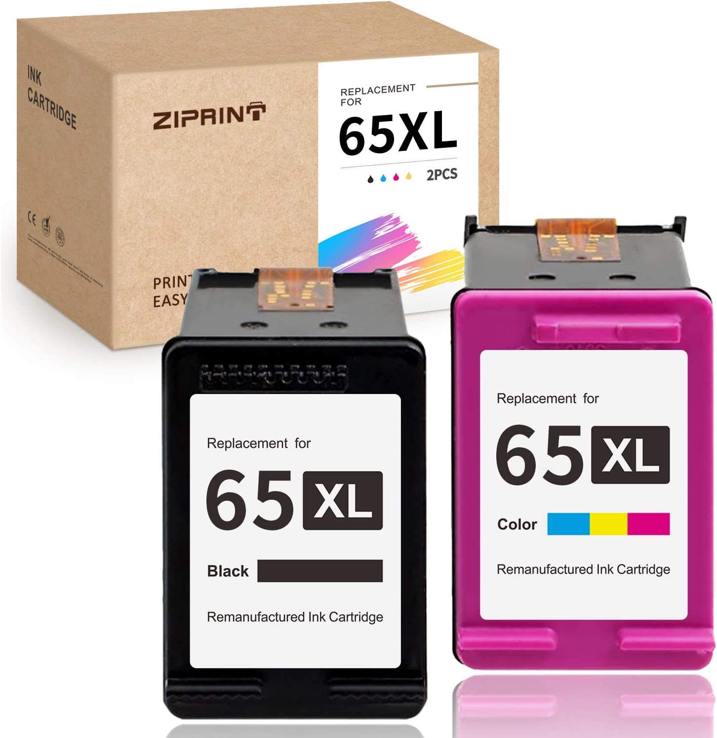 ZIPRINT Remanufactured Ink Cartridge Replacement for HP 65XL 65 XL Work with HP Envy 5055 5052 5058 DeskJet 3755 3752 2652 2655 2622 3720 3722 2624 3758 AMP 100 Printer (Black + Tri-Color, 2-Pack)