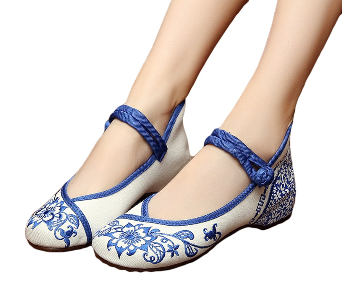 AvaCostume Chinese Traditional Paper Cut Art Embroidery Flats Mary Jane Shoes 43