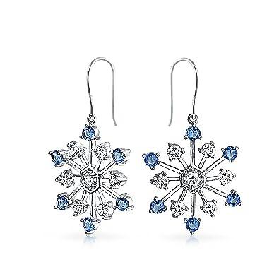 e4180d3cdcae Snowflake gota Aretes para Mujer Azul zirconia cúbico CZ Vacaciones de  Invierno de latón chapados en rodio  Amazon.es  Joyería