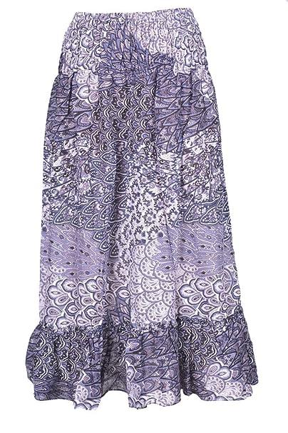 2ccc80eea2f9 P ANTI GURU Gonne-Lunghe-Donna-raggazza-estive-Fiori Etnica Vita Alta Lunga  Estiva per Ragazza Donna (Grigio Modello di Tessuto): Amazon.it:  Abbigliamento