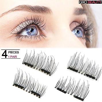 ce5746057e8 Amazon.com : Natural Double Magnetic Eyelashes False Magnetic Eyelashes No  Glue Convenient Soft Air Fake Eyelashes 3D Reusable Natural Look (4 Piece)  : ...