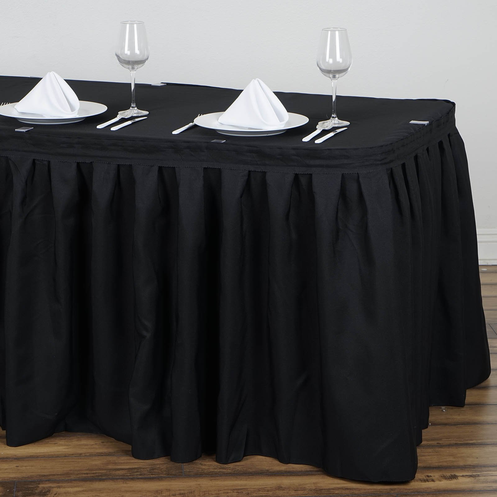 BalsaCircle 21 feet x 29-Inch Black Polyester Banquet Table Skirt Linens Wedding Party Events Decorations Kitchen Dining Catering by BalsaCircle (Image #3)
