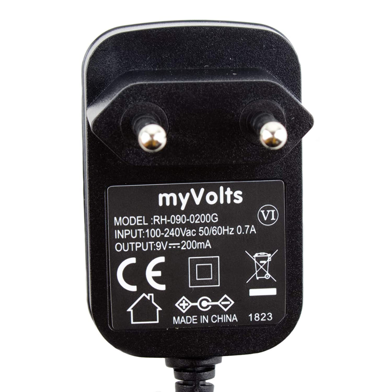 Prise fran/çaise Adaptateur Secteur MyVolts Chargeur//Alimentation 9V Compatible avec Donner Dynamic Wah Chargeur p/édale deffet