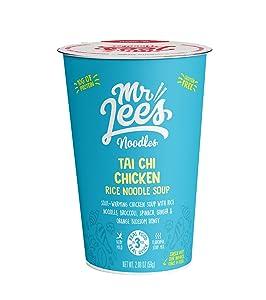 Mr Lee's Instant Ramen Cup Noodles, Gluten Free Rice Noodles, Tai Chi Chicken Soup Flavour. Bulk box of 8 x 59g