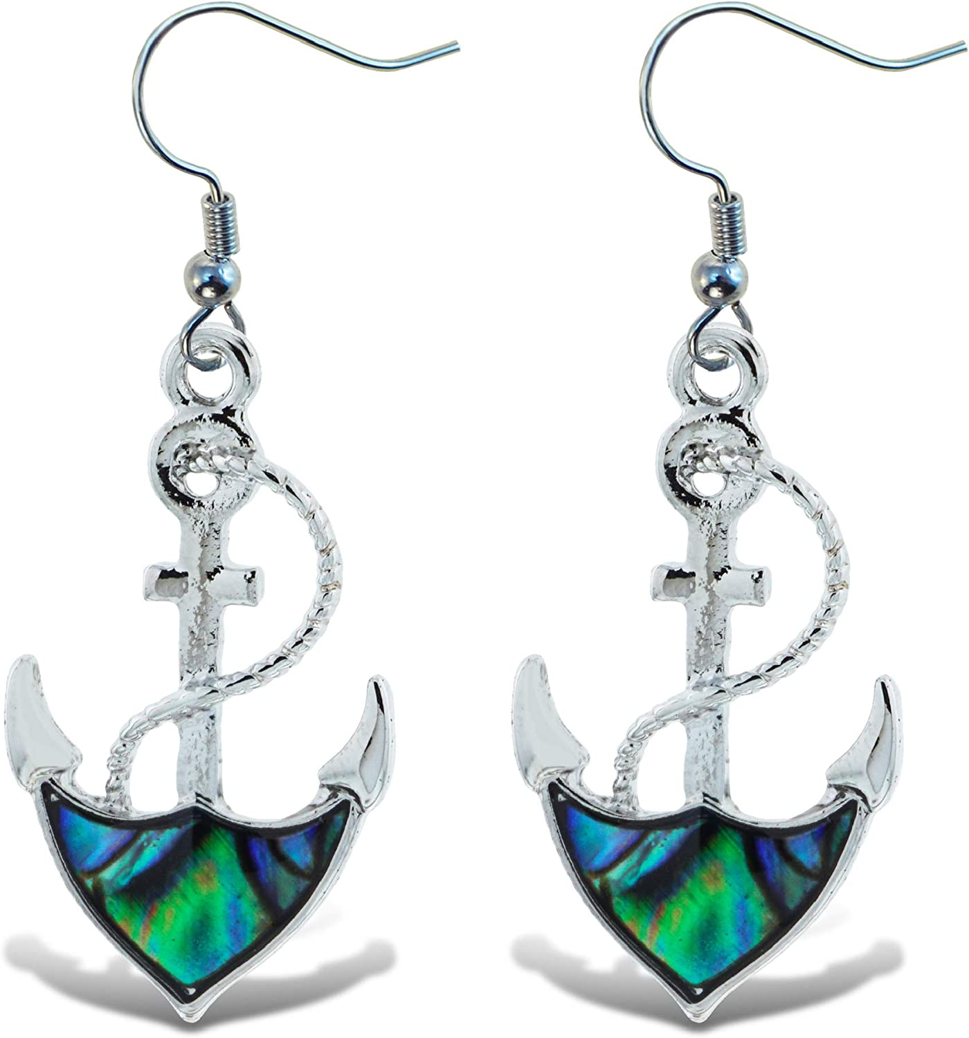 Anchor pendant necklace with shell earrings