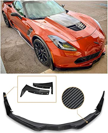 for 2014-Present Chevrolet Corvette C7 EOS Factory OEM Style Carbon Fiber Front Bumper Lower Splitter Side End Caps Extension Pair