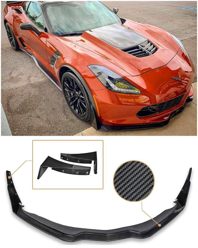 for 2014-Present Chevrolet Corvette C7 All Models   EOS Z06 Z07 Stage 3 Carbon Fiber Front Bumper Lower Lip Splitter with Painted Carbon Flash Metallic Side Extension Winglets