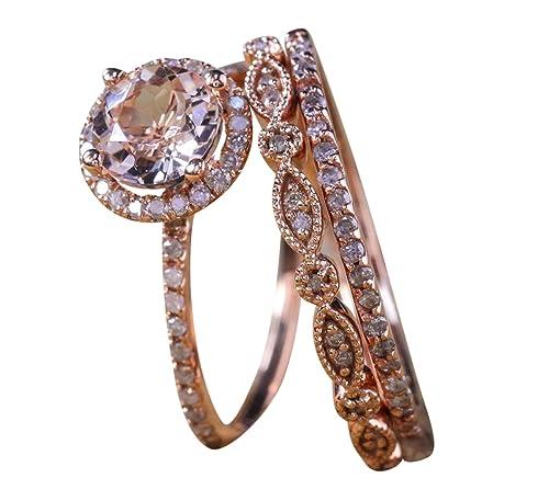 Venta 2 Carat antiguo Milgrain redondo Morganite y diamante anillo de Trio Set en 10 K oro rosa con un halo anillo de compromiso y 2 bandas de boda: ...