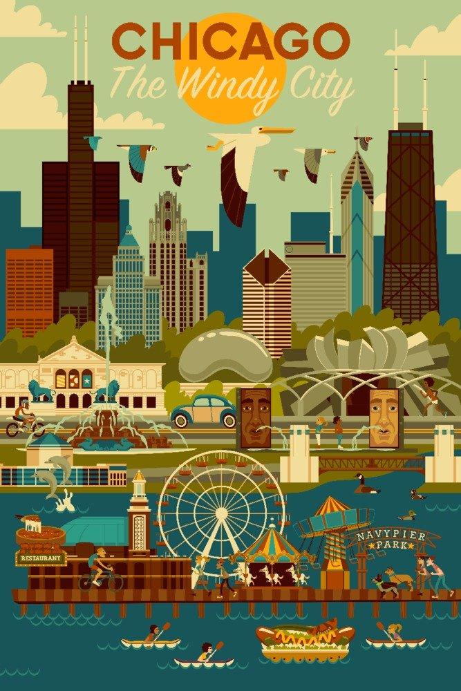 セール特価 シカゴ、イリノイ州 Print – Geometric 16 Print x 24 Giclee Giclee Print LANT-83140-16x24 B076PP6VCH 24 x 36 Giclee Print 24 x 36 Giclee Print, NO-MU-BA-RA:5c921091 --- 4x4.lt