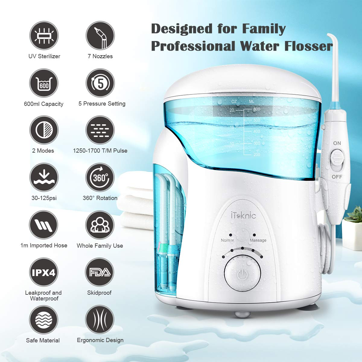 iTeknic Water Flosser UV Sterilizer Family Electric Dental Oral Water Irrigator for Teeth Clean with 2 Modes, 7 Jet Tips, 600ml Water Tank, 5 Adjustable Pressure