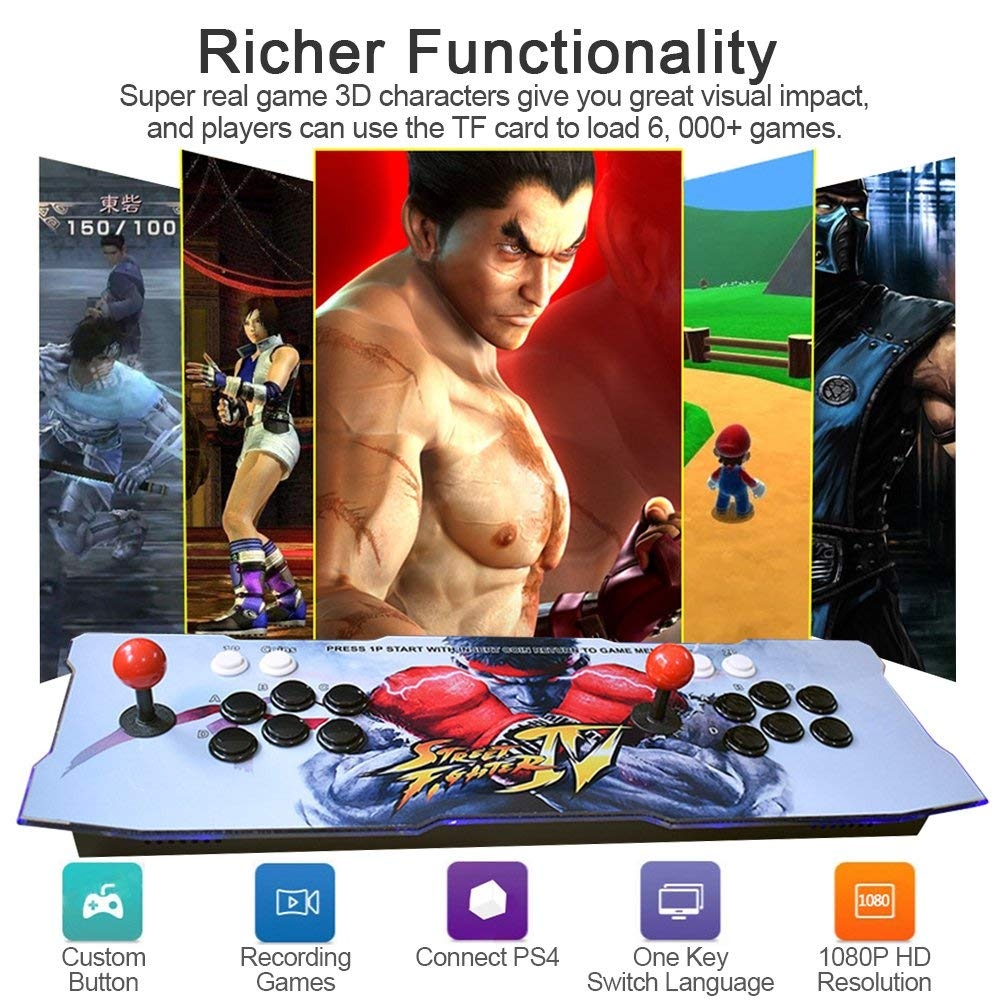 XFUNY Home Arcade Game Console 2350 in 1 Pandora Treasure 3D Arcade Machine with Arcade Joysticks for TV / Laptop / PC / PS4 / Switch