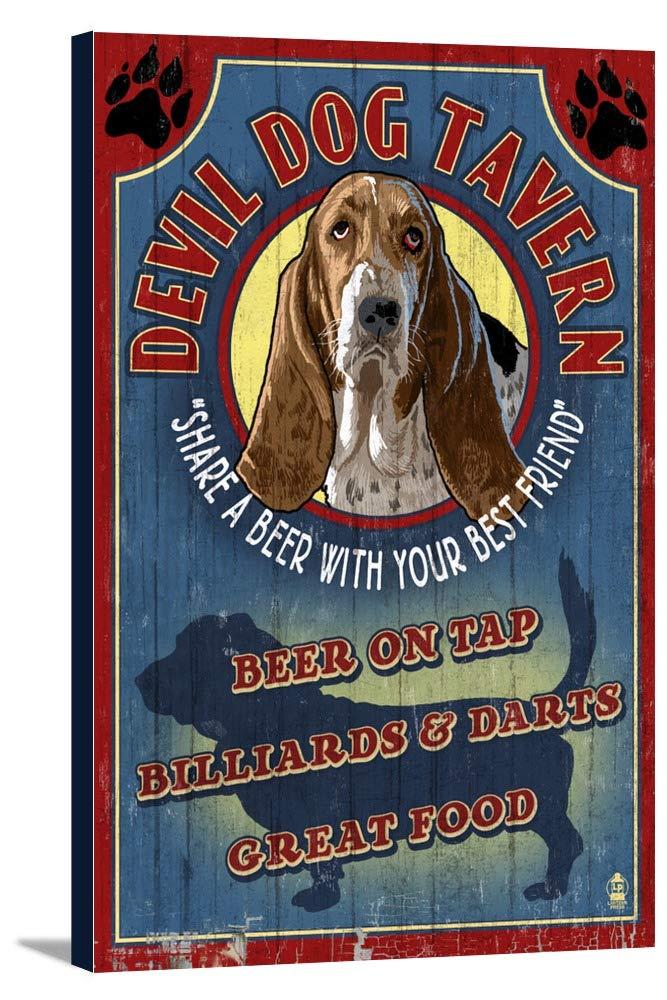 Devil Dog Tavern Vintage Sign – Basset Hound 16 x 24 Gallery Canvas LANT-3P-SC-34154-16x24 16 x 24 Gallery Canvas  B018438WUO