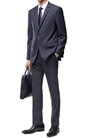 e04e5dc80 Image Unavailable. Image not available for. Color: Hugo Boss Men's 'Huge/ Genius' Dark Blue Slim Fit Virgin Wool Windowpane Suit